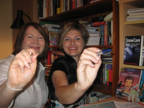 Karen Collum and I ... Pens are poised.