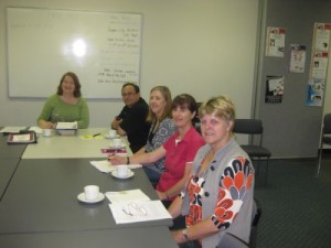 First Page Workshop ...Lto R ... Karen Tyrrell, Kev Webb, Maggie Anderson, Jan Mills. Ngaire Hart